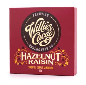 Willie's Cacao - Mørk Chokolade med Hasselnødder & Rosiner 50g