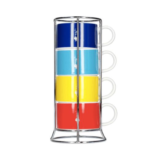 Bialetti Color - Sæt med 4 Cappuccino kopper og holder - Multifarvet