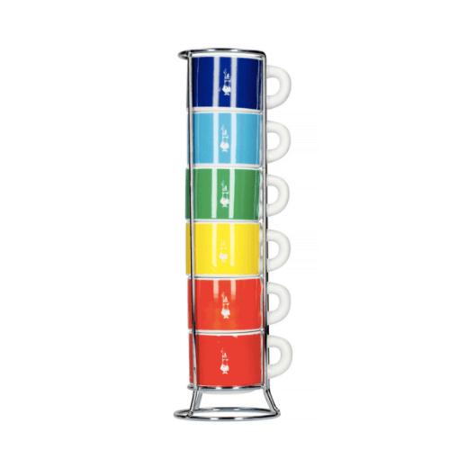 Bialetti Color - Sæt med 6 Espresso kopper og holder - Multifarvet