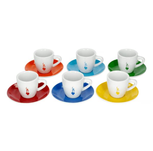 Bialetti Color - Sæt med 6 Espresso kopper & underkopper - Multicolor