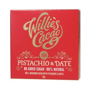 Willie's Cakao - Pistache og dadler 50g - 100% Maranon Kakao