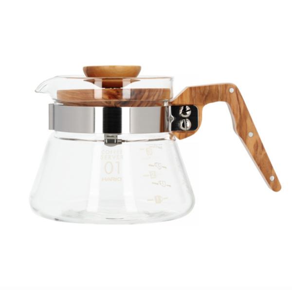 Hario Coffee Server Glaskande 400ml - Oliventræ - VCWN-40-OV