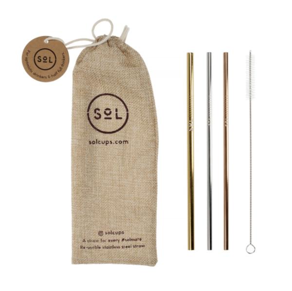 Sol Sugerørs Kit - 3 genanvendelige sugerør + rengøringsbørste + pose