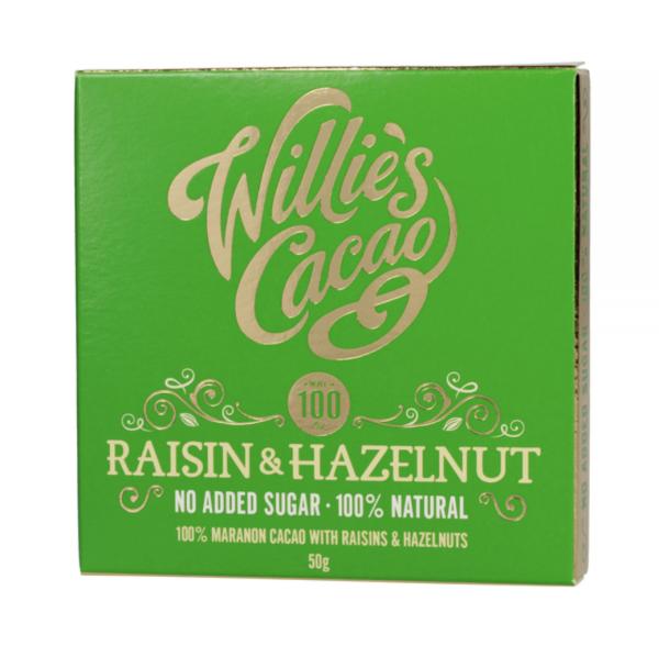 Willie's Cacao - Uden Sukker - Rosin & Hasselnød 50g
